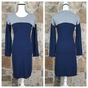Garnet Hill XS Merino Wool Color Block Dress